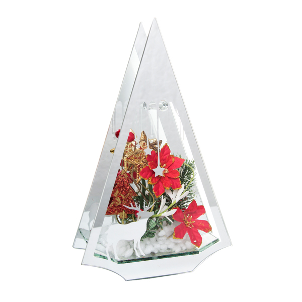 Christmas Tree LED Glass (White and Red flowers) Red