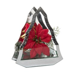 Christmas Tree Shape Glass with Red Poinsettia