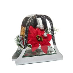 Glass Christmas Bell with flowers and LED lights