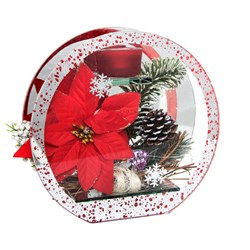 Christmas Glass Circle LED Red Poinsettia