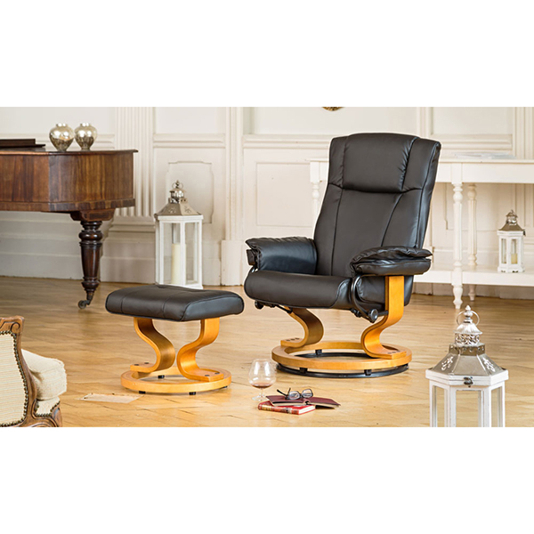 The Furniture Collection Sienna Swivel Heat and Massage Bonded Leather Recliner Chair and Stool Black