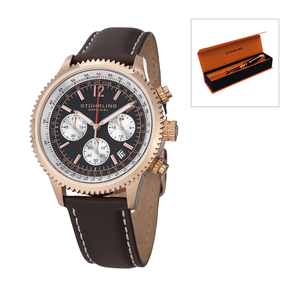 Stuhrling Gents Chronograph Watch, Leather Strap and Silver Tone Accents with FREE Pen Rose Gold