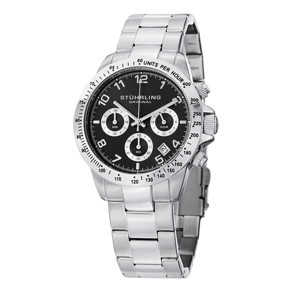 Stuhlring Gents Silver Tone Chronograph Watch with Stainless Steel Strap Black