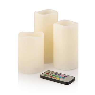 Starlight Colour Changing 3 Piece LED Candles Set With Remote Control