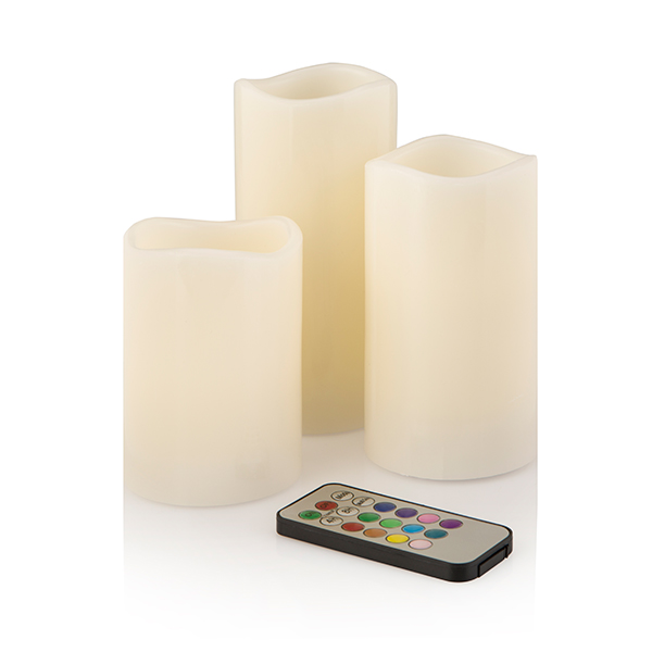 Starlight Colour Changing 3 Piece LED Candles Set With Remote Control No Colour