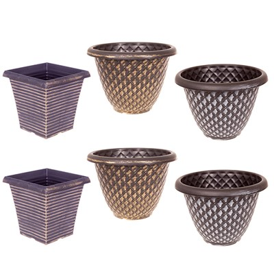 Set of 6 Large Metallic Planters