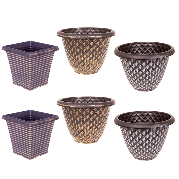 Set 6 large Festive Metallic Planters No Colour