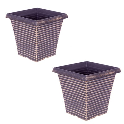Pair 10 Inch Tall Tapered Gold Planters