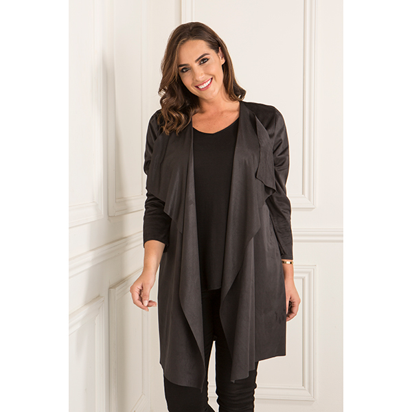 Nicole Suedette Waterfall Jacket Black