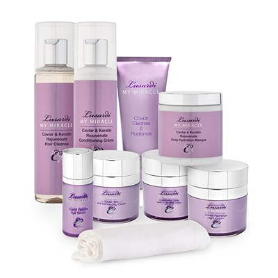 Lusardi My Miracle Caviar 6 Piece Skincare and Keratin Rejuvenate Hair Collection