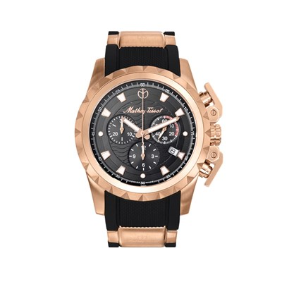 Mathey-Tissot Gent's Two Tone Newport Swiss Made Chronograph Watch with Silicone Strap