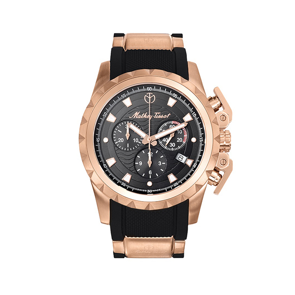 Mathey-Tissot Gents Two Tone Newport Swiss Made Chronograph Watch with Silicone Strap Black/Gold