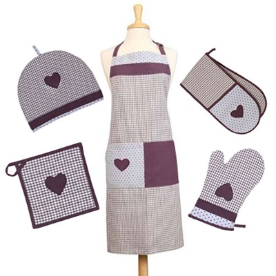 5 Piece Kitchen Linen Set Vintage Lavender - Pot Holder, Gauntlet, 6 Cup Tea Cosy, Double Oven Glove and Apron