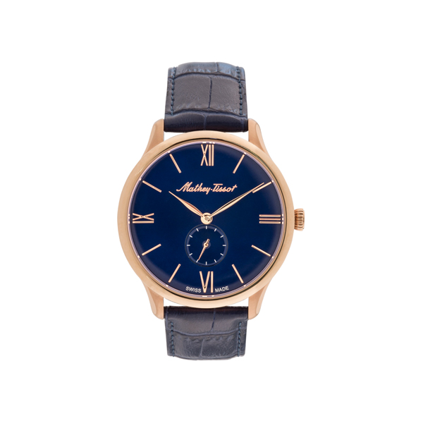 Mathey-Tissot Gent's Swiss Edmond Quartz with Leather Strap Blue