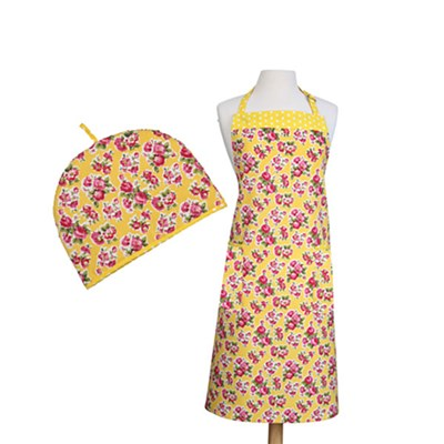 2 Piece Kitchen Linen Set Vintage Lemon - 6 Cup Tea Cosy and Apron