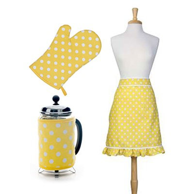 3 Piece Kitchen Linen Set Flamenco Lemon - Gauntlet, Cafetiere Cosy and Half Apron
