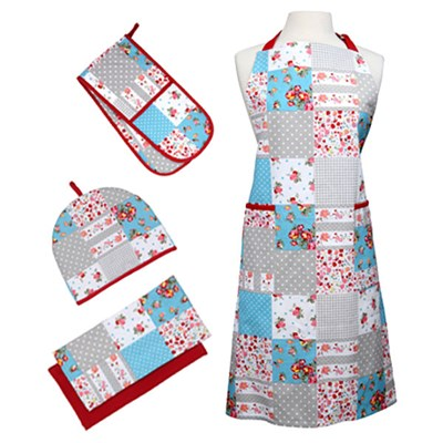 5 Piece Kitchen Linen Set Patchwork - 6 Cup Tea Cosy, 2 Tea Towels, Apron and Double Oven Glove