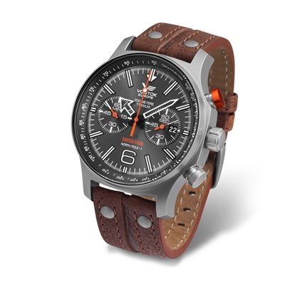 Vostok Europe Gents Chronograph Expedition N1 with Titanium Case and Leather Strap