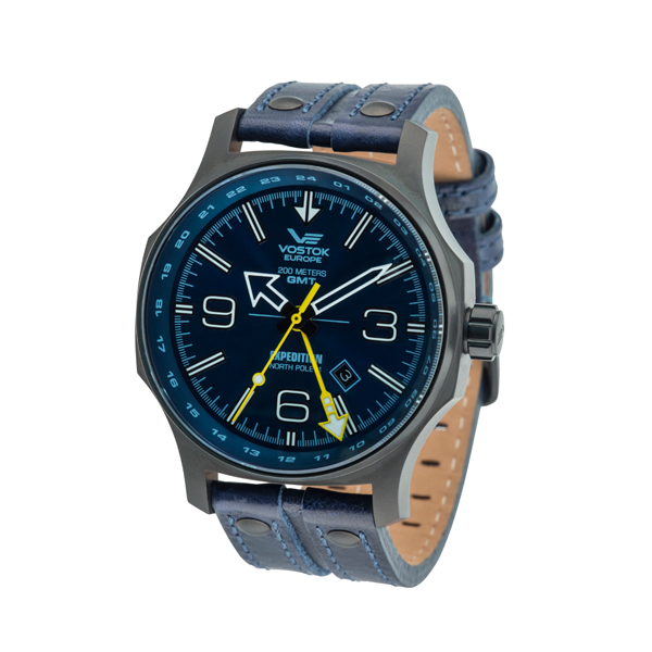 Vostok Europe Gents Expedition N1 with Black plated Stainless Steel Case and Leather Strap Blue