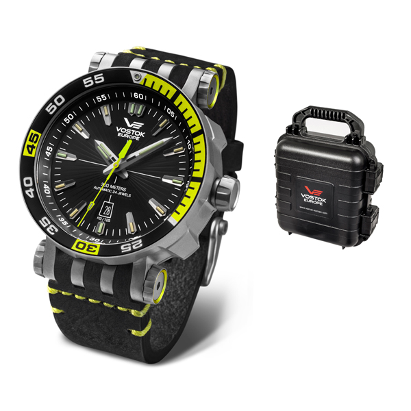 Vostok Europe Gent's Energia Rocket with Titanium Case, Interchangeable Straps and 4 Slot Collectors Dry Box Black