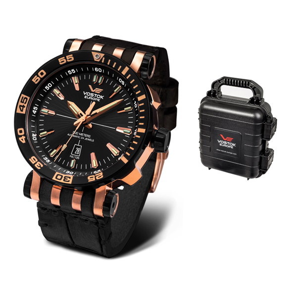 Vostok Europe Gent's Energia Rocket with PVD Stainless Steel Case Interchangeable Straps and 4 Slot Collectors Dry Box Black/Rose Gold