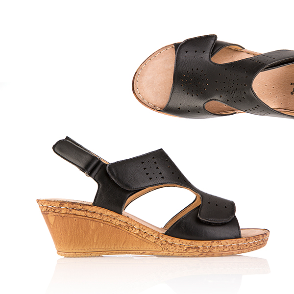 Cushion Walk Comfort One Touch Wedge Sandal Black
