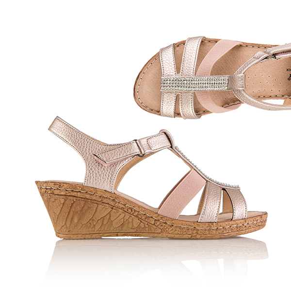 Cushion Walk Comfort One Touch Diamante Trim Wedge Sandal Rose