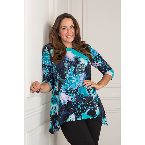 Reflections Cut and Sew Print Tunic Turquoise Floral