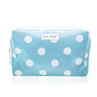 Skinn Blue Polka Dot Cosmetics Bag (8 x 6 inches)