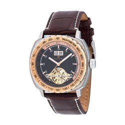 Constantin Weisz Gents Automatic Watch with Stainless Steel Case with Crocodile Embossing Calf Skin Genuine Leather Strap