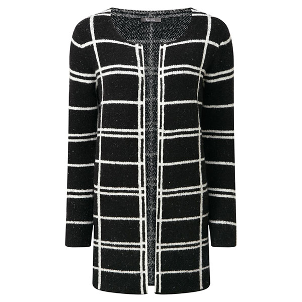 Lavitta Check R NK E2E Cardigan 30.5in Black