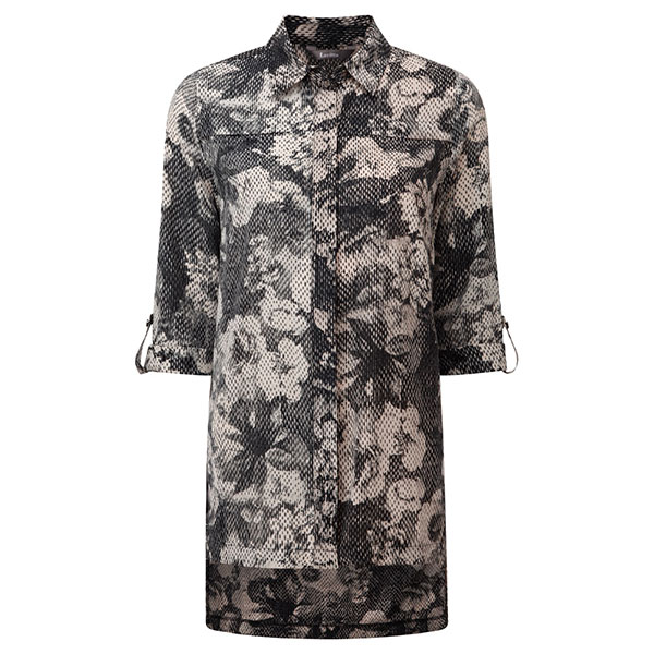 Lavitta Kensignton Fade Out Print Overshirt 30in Grey