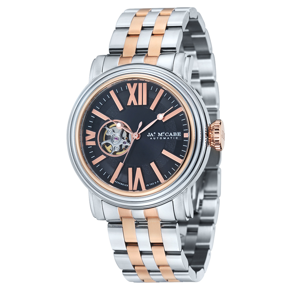 James McCabe Victory Gents Open Heart Automatic Japanese Movement with Stainless Steel Bracelet Strap Silver/Rose Gold