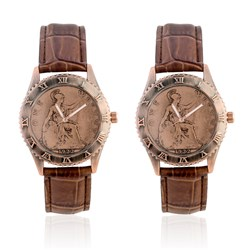 2 x One Penny Coin Watch with Genuine Leather Strap