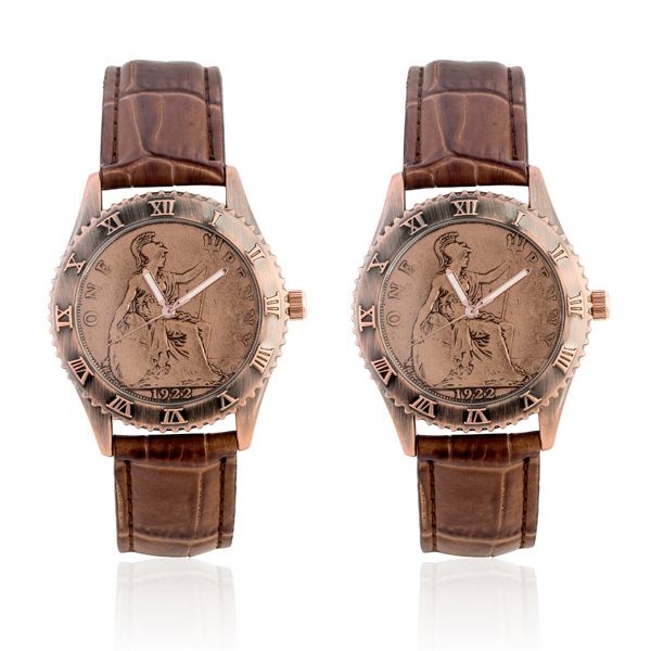 2 x One Penny Coin Watch with Genuine Leather Strap Brown's