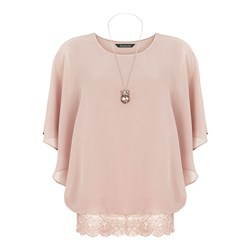 Bonmarche Lace Hem Blouse With Necklace 27in