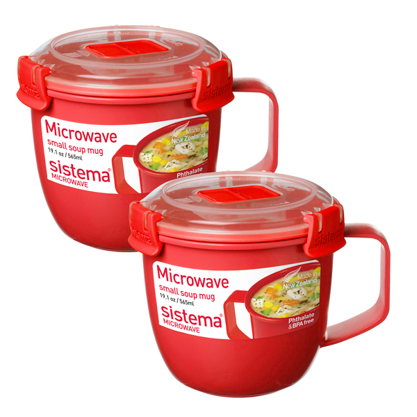 Pack of 2 Sistema Microwave Soup Mugs No Colour