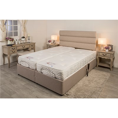 Sleep Genie Adjustable Bed and Headboard Hessian Finish 2 x 3 ft Link Beds Super King