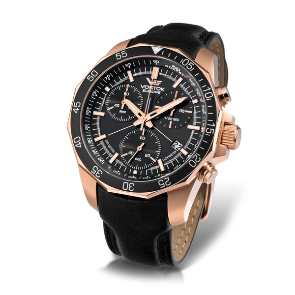 Vostok Europe Gents N1 Chronograph Rocket with Stainless Steel Case and Genuine Leather Strap Black