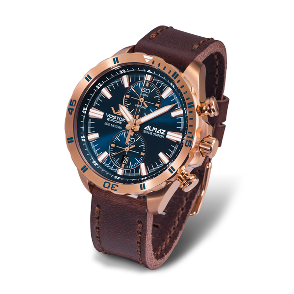 Vostok Europe Gents Chronograph Almaz with Stainless Steel Case and Genuine Leather Strap Blue