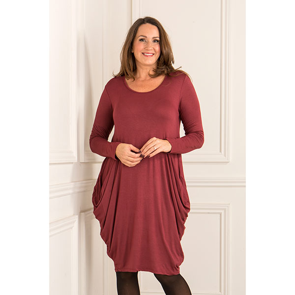 Made In Italy Side Pocket Dress Wine