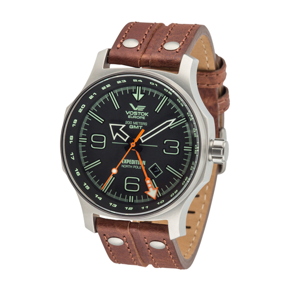 Vostok Europe Gents Dual Time Expedition N1 with Leather Strap Brown's