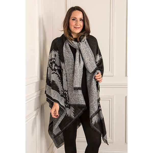 Kurt Muller Aztec Scarf Wrap Black/Grey