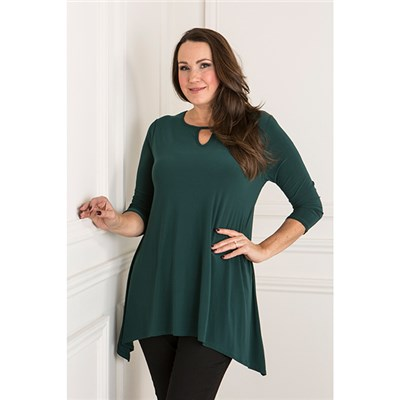 Styled By Swing Dip Hem Top with Keyhole Detail