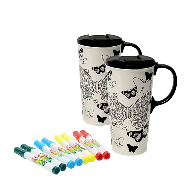 2 x Just Add Colour Ceramic Travel Mugs and 4 Pens Butterfly Kisses