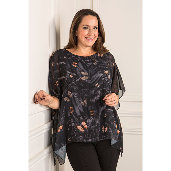 Reflections Printed Chiffon Lined Top Butterfly