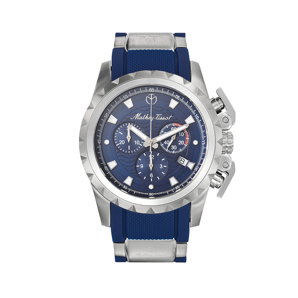 Mathey-Tissot Gents Navy Newport Swiss Made Chronograph Watch with Silicone Strap Blue