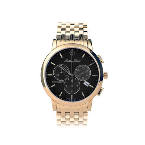 MatheyTissot Gents Sport Classic Chronograph Watch with Gold Plated Bracelet 387871