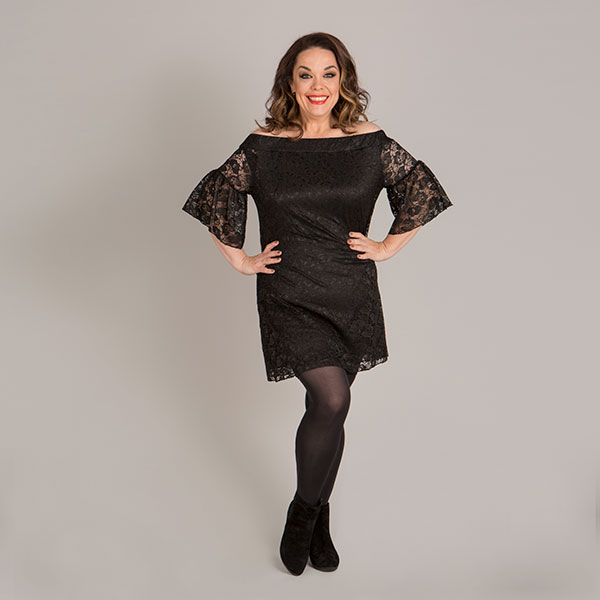 Just Be You Lace Bardot Tunic Dress Black