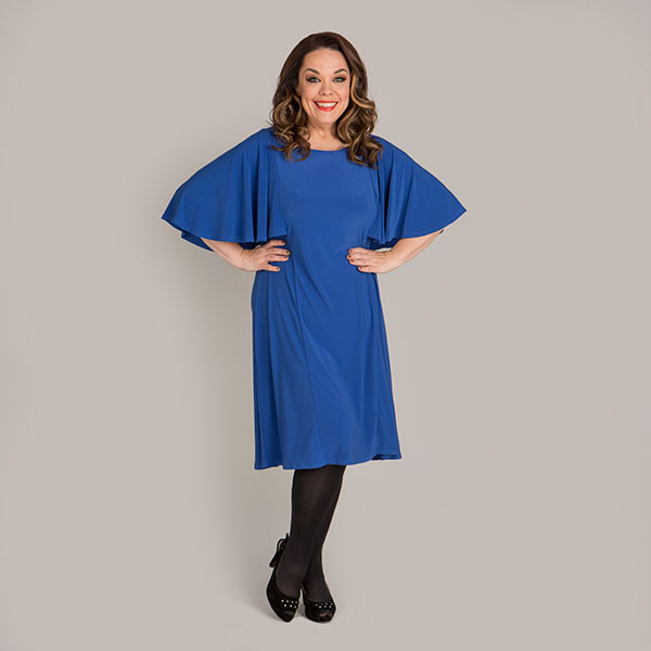 Just Be You Angel Sleeve Cape Dress Cobalt
